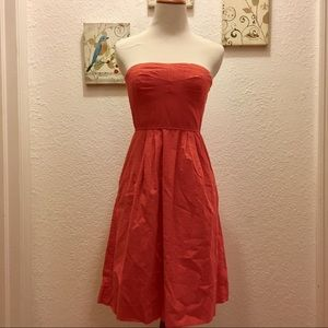 J.Crew Orange French Dot Strapless Dress 0